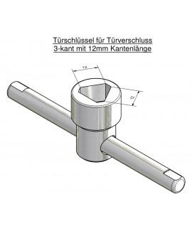 Türschlüssel mit beweglichem Drehstift für Türverschluß 3-kant mit 12 mm Kantenlänge