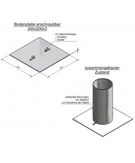 Bodenplatte anschraubbar, 200 x 200 x 3 mm + 2x Hakenschraube+Mutter